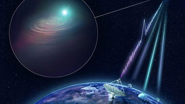Уметнички приказ радио-експлозије у којој је рођена галаксија ДЕС Ј2144-4054 - Sputnik Србија