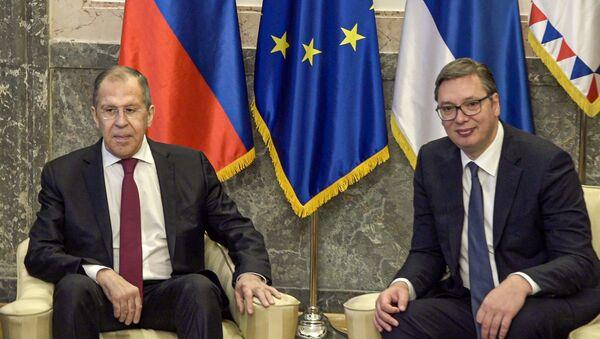 Ministar Ruske Federacije Sergej Lavrov na sastanku sa predsednikom Srbije Aleksandrom Vučićem u zgradi Predsedništva - Sputnik Srbija