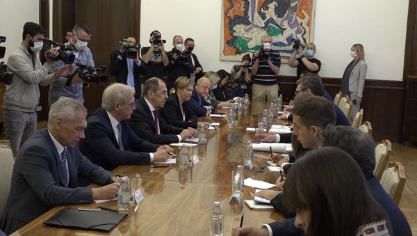 Sastanak ruske i srpske delegacije u zgradi Predsedništva Srbije - Sputnik Srbija