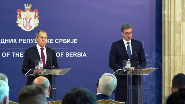Zajednička konferencija za novinare u zgradi Predsedništva Srbije - Sputnik Srbija