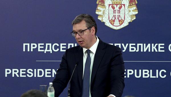 Predsednik Srbije Aleksandar Vučić u zgradi Predsedništva - Sputnik Srbija