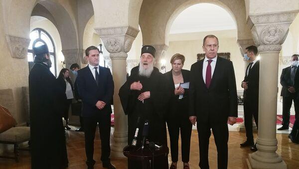 Састанак министра Русије Сергеја Лаврова и патријарха српског Иринеја - Sputnik Србија
