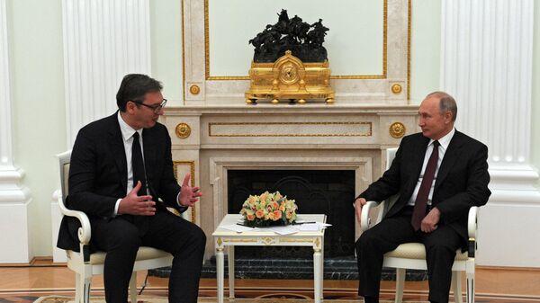 Predsednici Srbije i Rusije Aleksandar Vučić i Vladimir Putin - Sputnik Srbija