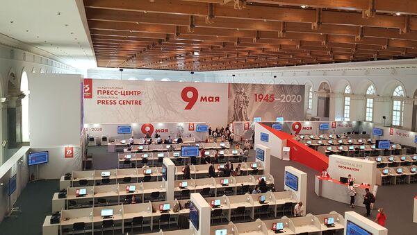 Прес-центар одакле су новинари пратили Параду победе - Sputnik Србија