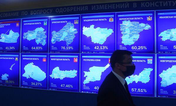 Tabla Centralne izborne komisije Rusije sa podacima iz svake regije i procentom glasova o izmenama Ustava. - Sputnik Srbija
