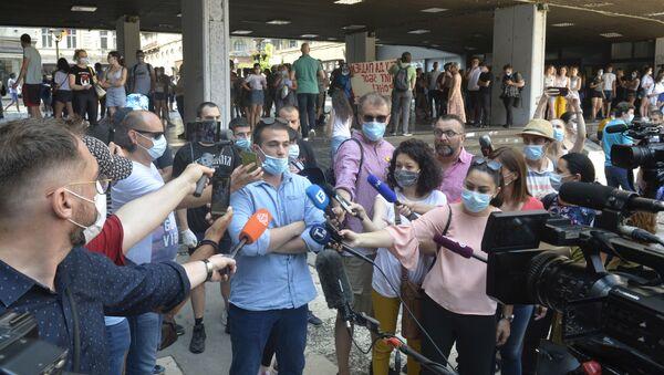 Protest studenata na Platou Filozofskog fakulteta - Sputnik Srbija