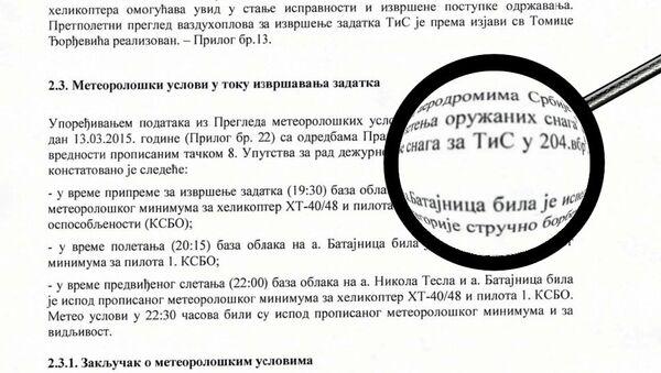 Izveštaj o padu helikoptera - Sputnik Srbija