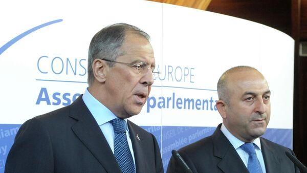 Ministar spoljnih poslova Rusije Sergej Lavrov i ministar spoljnih poslova Turske Mevlut Čavušoglu - Sputnik Srbija