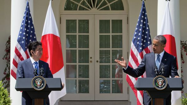 Јапански премијер Шинзо Абе и амерички председник Барак Обама - Sputnik Србија