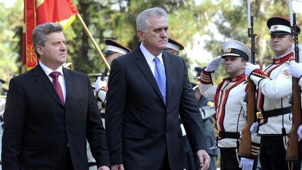 Predsednik Tomislav Nikolić  i makedonski predsednik Đorđe Ivanov - Sputnik Srbija
