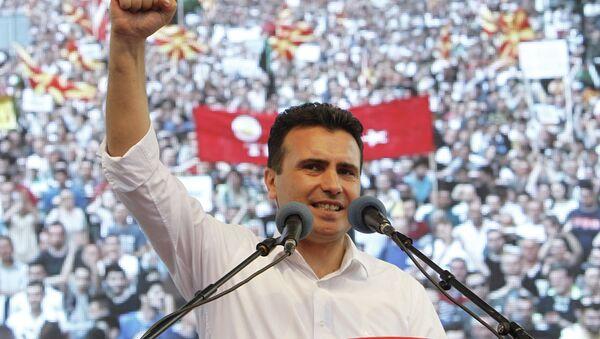 Miting opozicije u Skoplju-za govornicom lider opozicije Zoran Zaev - Sputnik Srbija
