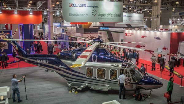 """Helikopter AV-139 na štandu kompanije """"Avgusta Vestland"""" na VIII Međunarodnoj izložbi helikopterske industrije """"HeliRussia-2015"""" u Moskvi. - Sputnik Srbija"""