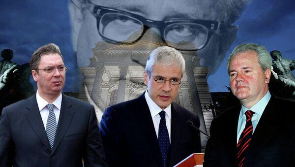 Aleksandar Vučić, Boris Tadić, Slobodan Milošević ( u pozadini se vidi Narodna skupština Srbije i lik Henrija Kisindžera ) - Sputnik Srbija