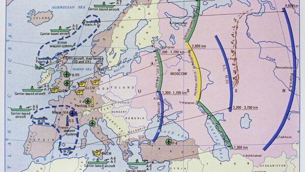 Мапа показује домет нуклеарног оружја у земљама НАТО-а. - Sputnik Србија