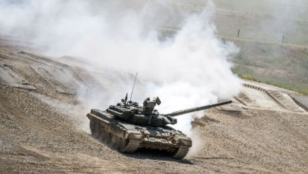 """Tank T-72B3 during equipment demonstration at the International Military-Technical Forum """"ARMY-2015"""" in Moscow region - Sputnik Србија"""