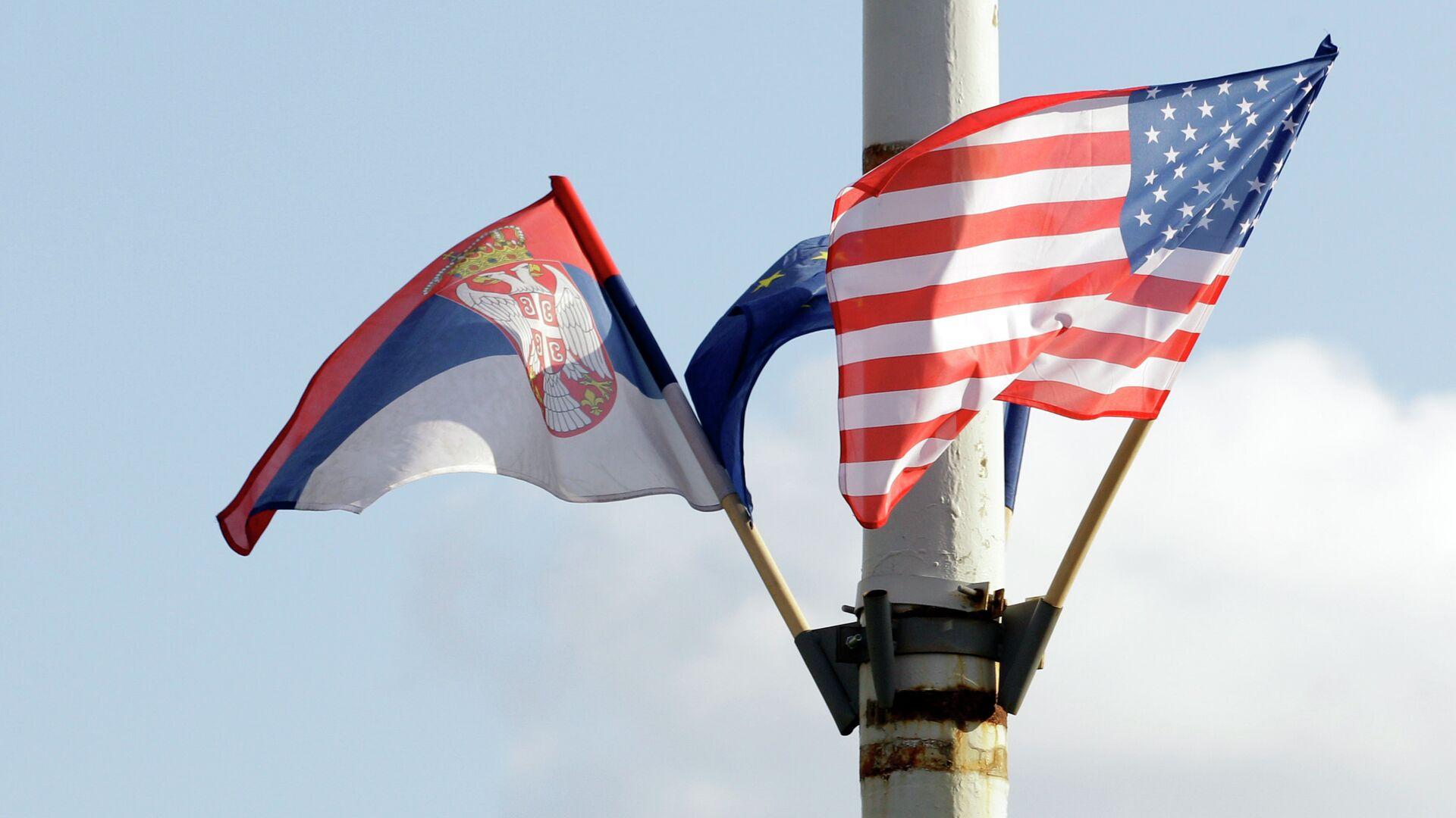 Zastave Srbije, EU i Amerike - Sputnik Srbija, 1920, 10.08.2021