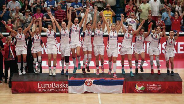 Srpske košarkašice na pobedničkom postolju - Sputnik Srbija