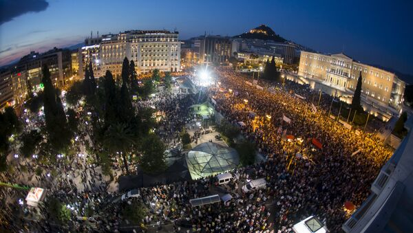 Veliki protest na trgu Sintagma u Atini protiv EU - Sputnik Srbija