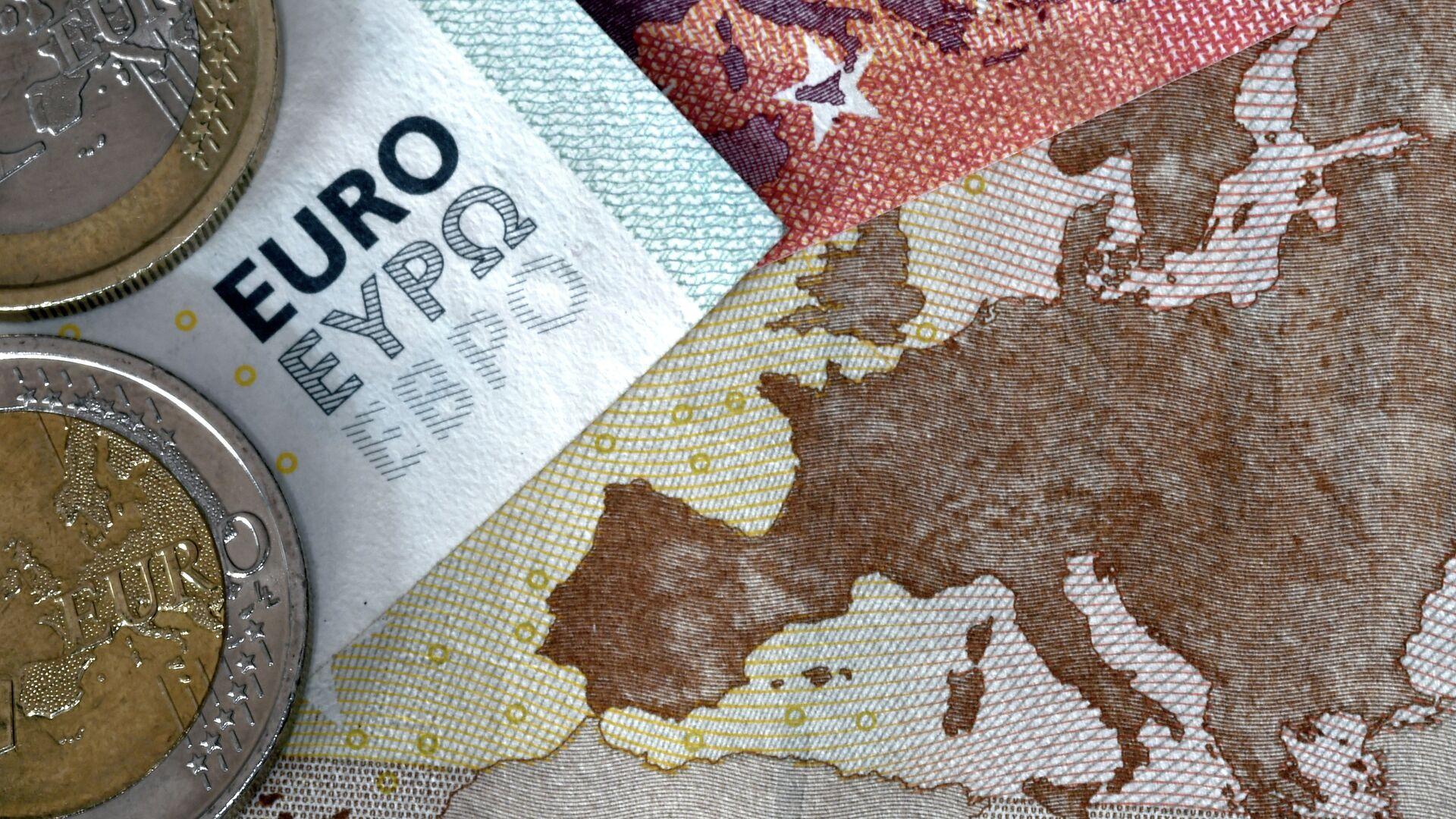 Новчанице и кованице евра на мапи Европе - Sputnik Србија, 1920, 26.09.2021