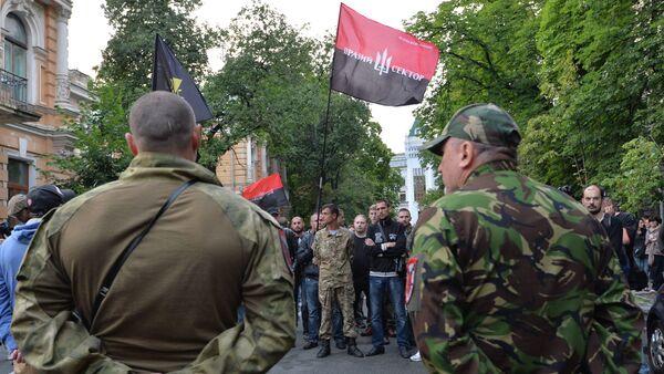 Pripadnici Desnog sektora i njihove pristalice ispred Predsedničke palate u Kijevu - Sputnik Srbija