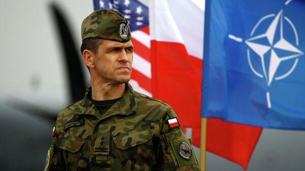 Poljski vojnik stoji u blizini poljske i NATO zastave - Sputnik Srbija