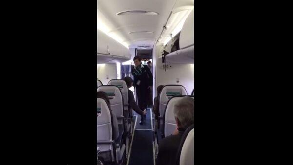 Stjuardesa zabavlja putnike u avionu - Sputnik Srbija