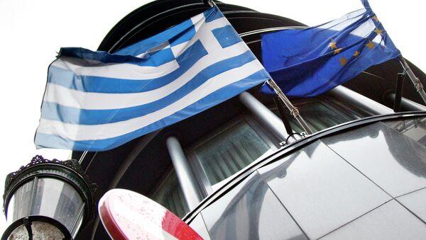 Заставе Грчке и ЕУ на Грчкој амбасади у Бриселу - Sputnik Србија