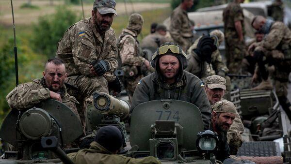 Украјински војници у близини Красноармијска у доњецком региону - Sputnik Србија