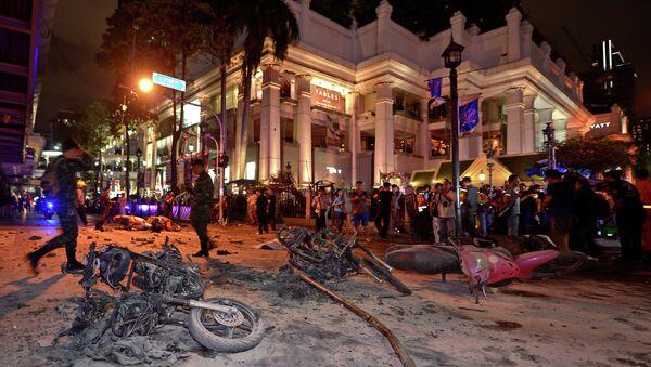 Тајландски војници на месту експлозије бомбе - Sputnik Србија