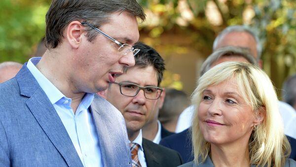 Александар Вучић и министарка за европске интеграције немачке покрајине Баварске Беата Мерк - Sputnik Србија