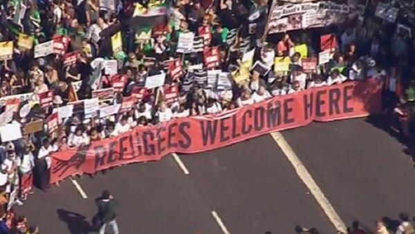 Подршка избеглицама у Лондону, протест - Sputnik Србија