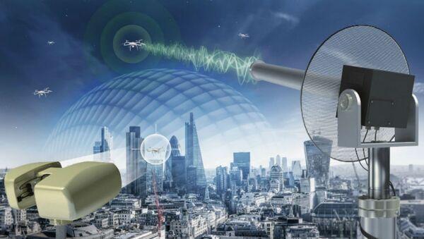 Графички приказ Селекс ЕС Фалкон штита контра-УАВ систем - Sputnik Србија