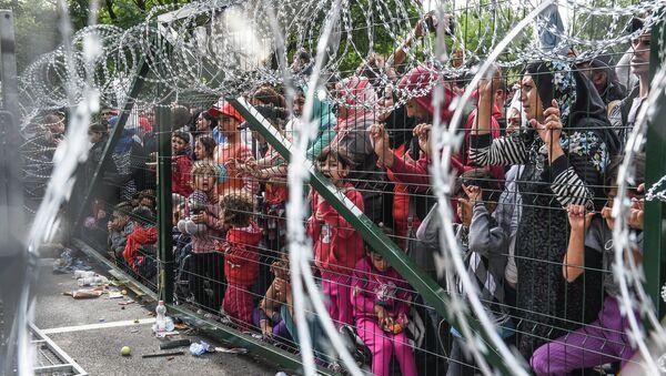 Izbeglice stoje ispred ograde na mađarsko-srpskoj granici kod Horgoša - Sputnik Srbija
