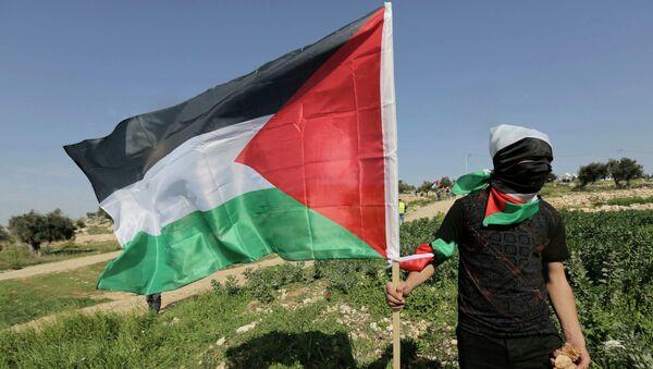 Протестант са заставом Палестине - Sputnik Србија