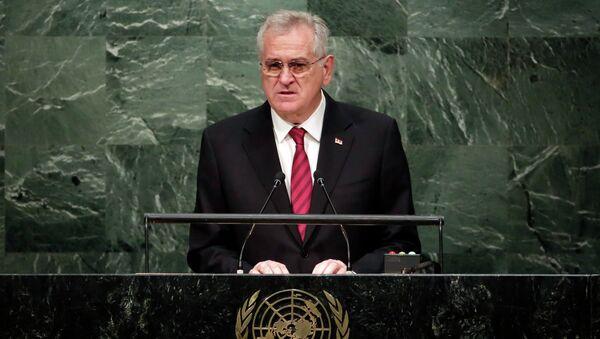 Predsednik Srbije Tomilsav Nikolić za govornicom u UN - Sputnik Srbija