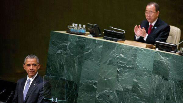 Generalni sekretar Ujedinjenih nacija Ban Ki-Mun i predsednik SAD Barak Obama - Sputnik Srbija