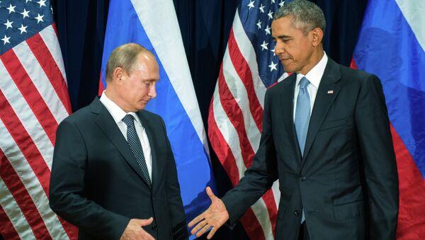 Председник Руске Федерације Владимир Путин и амерички председник Барак Обама на 70. Генералној скупштини УН - Sputnik Србија