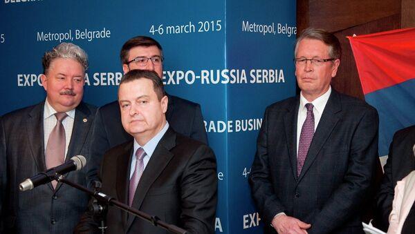 Ivica Dačić govori na otvaranju rusko-srpskog sajma Ekspo 2015  . - Sputnik Srbija