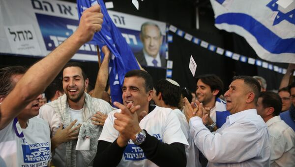 Pristalice izraelske partije Likud slave posle proglašenja pobede njihovog lidera Benjamina Netanijahua na parlamentarnim izborima 17. marta 2015. - Sputnik Srbija