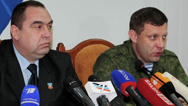 Шефови ДНР и ЛНР Александар Захарченко и Игор Плотницки - Sputnik Србија